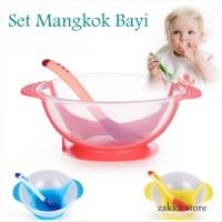 B8073 Mangkuk Bayi plus sendok lucu / Set Mangkok Bayi BPA FREE