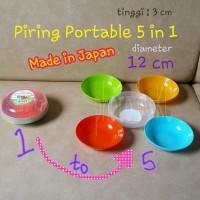 (JAPAN) 5in1 Piring Portable Warna Warni Piring Piknik Picnic Plate