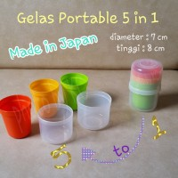(JAPAN) 5 in 1 Gelas Portable Warna Warni Gelas Piknik Picnic Glass