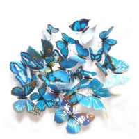 Wall sticker 3D Butterfly,Dekorasi dinding, sticker dinding 3D (Biru)