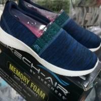 New SKECHERS Memory Foam Original Grade Biru Navy Trend Hits Empuk