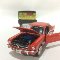 FORD MUSTANG COUPE (MERAH) - SKALA 1:24 - WELLY (DIECAST-MINIATUR)