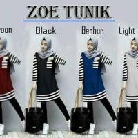 Jual Best Seller Fashion Baju wanita atasan Blouse Zoe Tunik Salur Murah