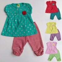 Baju Setelan Anak Bayi Perempuan Kaos Silver Polkadot Leging Garis
