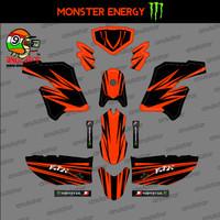 Sticker striping motor stiker Kawasaki KLX Modif Orange Polos Spec A