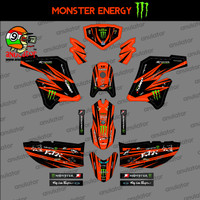 Sticker striping motor stiker Kawasaki KLX 150 Modif Orange Spec B