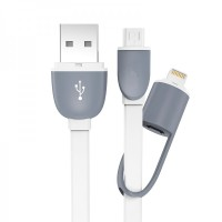 Kabel USB 2 In 1 Lightning & Micro USB Untuk Android / IOS 10 - White