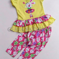 Baju Setelan Bayi Perempuan/Kaos Kelinci Balerina+Celana Leging/Murah