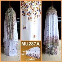 Mukena Bali Bunga Kecil Dasar Putih - MU287A (Coklat)