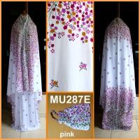 Mukena Bali Bunga Kecil Dasar Putih - MU287E (Pink)