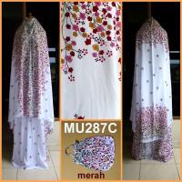Mukena Bali Bunga Kecil Dasar Putih - MU287C (Merah