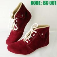 harga Sepatu Boot Wanita Tali   Sepatu Boots Cewek Maroon Merah Coklat Bc001 Tokopedia.com
