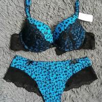 Jual Bra set with panty Helga leopard BLUE Murah