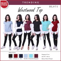 harga Westwood Top Blouse Fake2pcs Kemeja Kaos Atasan Wanita Bl975 Tokopedia.com