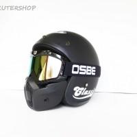 Helm Bogo JPN Jap Style Retro Black Doff Blue Vespa + Goggles Mask