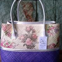 Handbag/Tas Pandan Purple MB 001 Decoupage