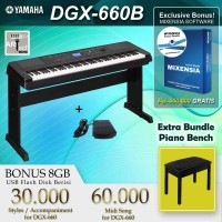Yamaha DGX 660 Black + Kursi Piano / DGX660B / DGX660 B Digital Piano