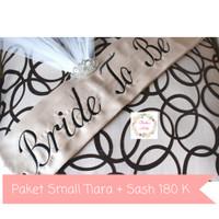 Jual Paket Selempang Bridal Shower Bride To Be & Mahkota Small Tiara Crown Murah