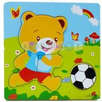 Jual Puzzle Kayu 3D Jigsaw Balita 1-2 Tahun Edukasi Anak Gambar Beruang Murah