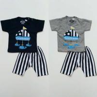 Baju Setelan Anak Bayi Laki Cowok - Paus Celana Garis Hitam Putih