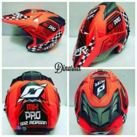 Helm Semi Cross Double Visor Trabas Supermoto Klx Gas Morgan Orange