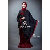 Mukenah Ponco Makinayu Black Red Diskon