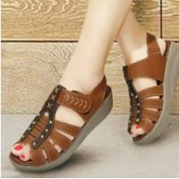Jual Sepatu Sandal Wanita Mulan 1200 Sepatu Wedges Replika Kickers Tan Murah