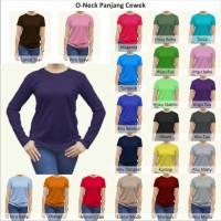 Tshirt / Kaos Polos Oneck Wanita / Cewek Lengan Panjang, Combed Murah