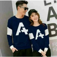 [CP A NAVY] baju sweater couple pasangan romantis warna biru navi