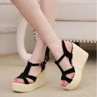 Jual Promo Sepatu Sandal HighHeels Wanita Cewek Wedges W17 Hitam Murah Murah