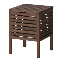 Ikea Molger ~ Bangku & Tempat Penyimpanan | Dark Brown Storage Stool