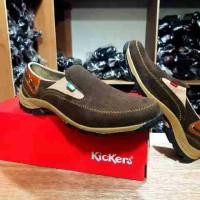 sepatu kickers casual dark brown kulit suede