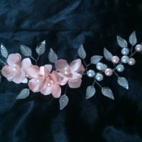hiasan rambut headpiece wedding, jepit rambut - sweet peach
