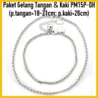 Jual PM15P-DH Paket Gelang Tangan&Kaki Perhiasan Lapis Emas Putih Murah
