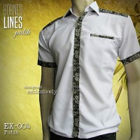 BATIK PRIA Kombinasi PUTIH   EX-004-P   Seragam Batik Elegan