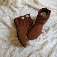 Jual sepatu boot cover rajutan coklat Murah