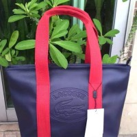 lacoste classic large tote bag black red