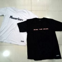 Kaos Baju Custom Desain Bebas Tulisan 1 warna Uk A4