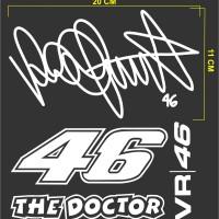 Stiker Cutting Sticker Motor Tanda Tangan Valentino Rossi + 46