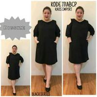 BIG SIZE BAJU BIGSIZE : BAJU ATASAN TUNIK DRESS BLACK SERIES LENGAN KE