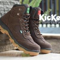 sepatu boot kickers leather suede safety dark brown