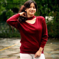 NEW Sweater Rajut Wanita Murah / Atasan / Jasmine Vee Sweater Maroon