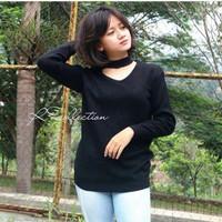 PROMO Sweater Rajut Wanita Murah / Atasan / Blouse / Jasmine Vee Black