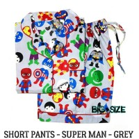Piyama Wanita Big Size Superman Grey Short Pants