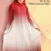 Jual Dress Gamis Murah Bubble Crepe Motif Polkadot Merah Murah