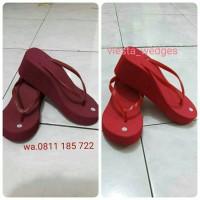 Jual Wedges/sandal/sendal jepit Spons colorful Murah