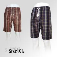 Jual Celana pendek santai | katun | motif kotak XL Murah