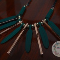 Statement Necklace Kalung Fashion Pendant Gold Feather Green