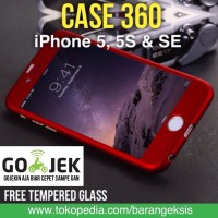 CASE 360 Full Protective iPhone 5, 5S, SE HARDCASE FREE Tempered Glass