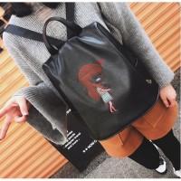 Tas Bagpack Ransel Black Import Fashion Korea Wanita Jalan Backpack
